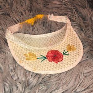 Anthro Vtg decorated visor hat woven